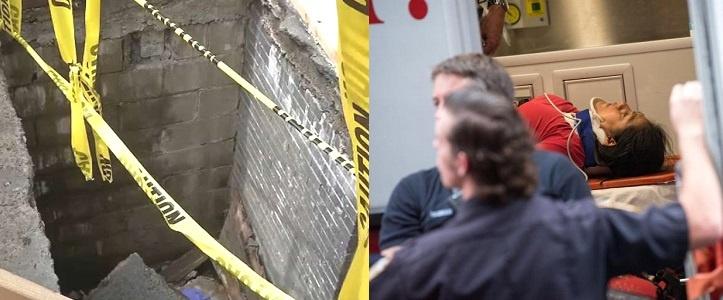 Acera se derrumba Alto Manhattan y mujer hispana cae al hoyo