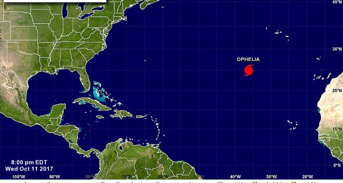 Tormenta tropical Ofelia se convierte en el décimo huracán de la temporada en el Atlántico
