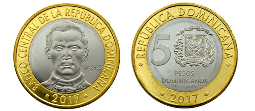 El Banco Central informa sobre cambio en nombre de la denominación moneda de RD$5.00, año 2017