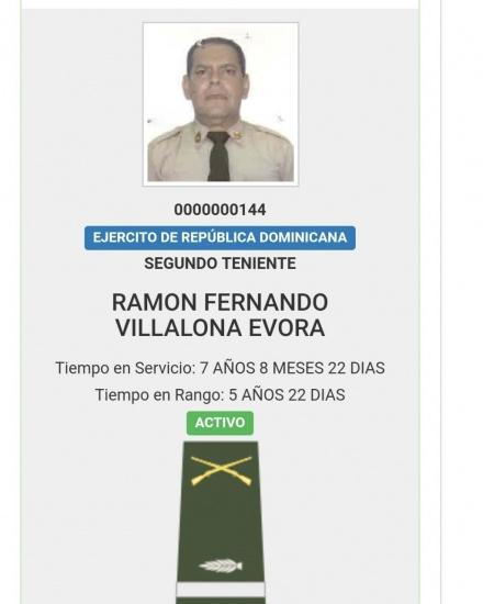 Fernando Villalona fue ascendido a primer teniente del Ejército Nacional