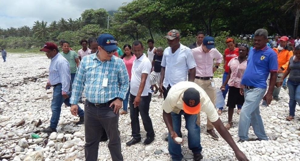 Técnicos de Medio Ambiente inspeccionan playas por recogidas de piedras en Barahona