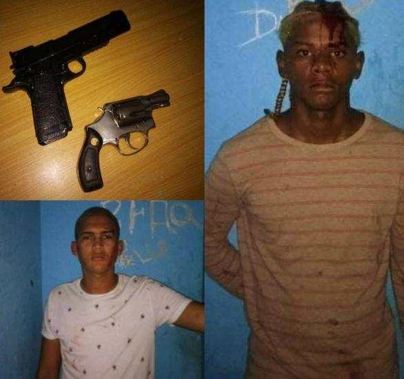 Policía Nacional detiene dos en Montellano portaban un revólver ilegal y una pistola de juguete