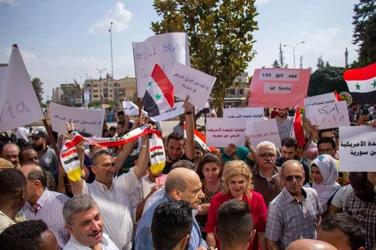 Protestan en Siria contra la ocupación turca y estadounidense