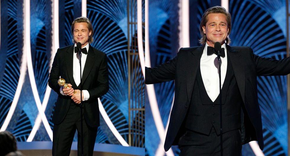 """Globos de Oro: Brad Pitt ganó como Mejor actor de reparto y bromeó con Di Caprio: """"Yo sí hubiera compartido la tabla"""""""