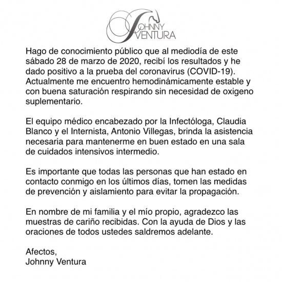 Johnny Ventura se recupera de fractura tras caída, pero informa dio positivo al coronavirus