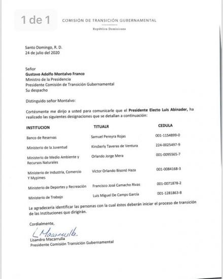 Extraoficialmente se conocen otros nombramientos del nuevo gobierno del PRM