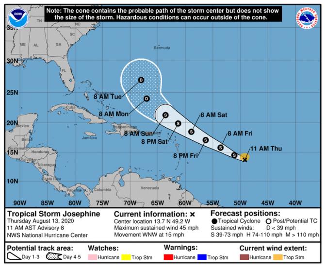 Se forma la tormenta tropical Josephine en el Atlántico