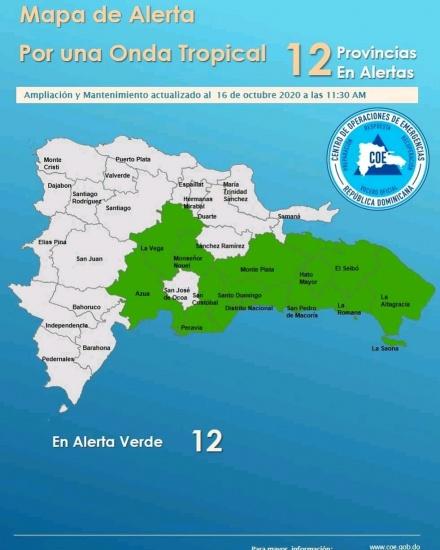 COE informa ahora son 13 las provincias en alerta ante posibles inundaciones por onda tropical