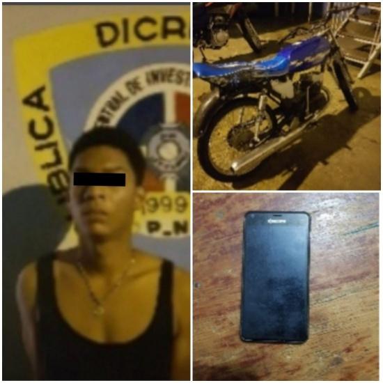 Apresado hombre en flagrante delito dedicado al arrebato de celulares en motocicleta