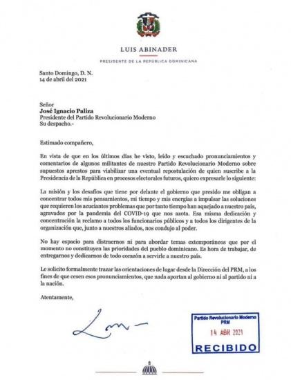 En carta al presidente del PRM Luis Abinader reitera no esta en reelección