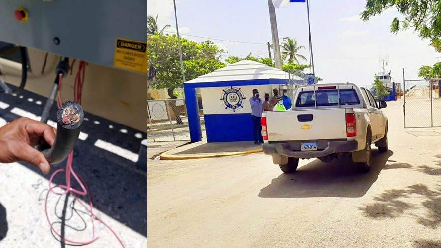 En Barahona tambien burlan seguridad de la comandancia y roban cableado del muelle 4 del puerto