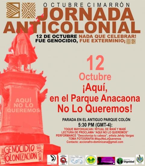 """12 de Octubre: Organizaciones Invitan a Parada en el Parque Anacaona (antiguo Parque Colón): """"Aquí No Lo Queremos!"""